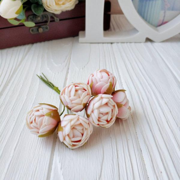 букет бутон розы фом бело-розовый
