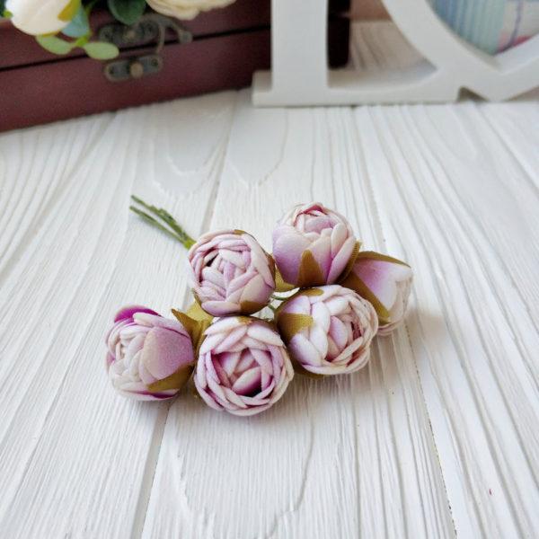 букет бутон розы фом бело-сиреневый