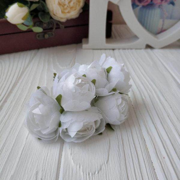 букет пионовид роза ткань белый