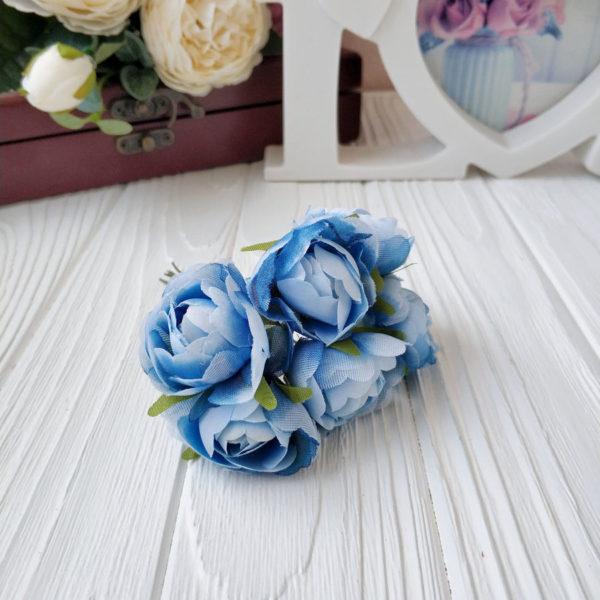 букет пионовид роза ткань голубой