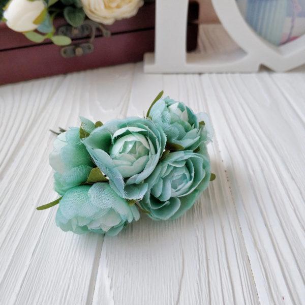 букет пионовид роза ткань мятный