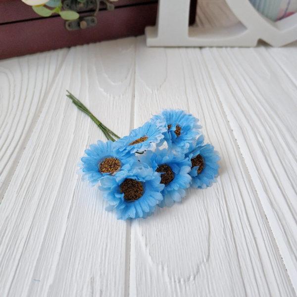 букет ромашки ткань голубой