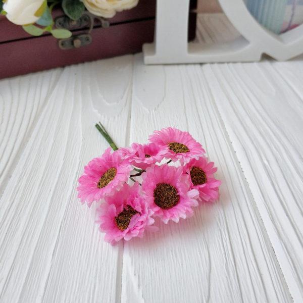 букет ромашки ткань розовый