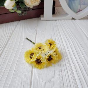 букет ромашки ткань желтый