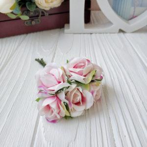 букет розы ткань бело-розовый
