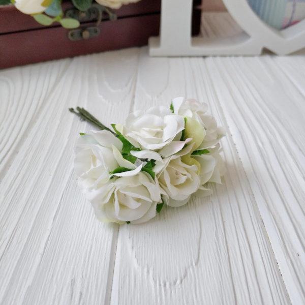букет розы ткань молочный