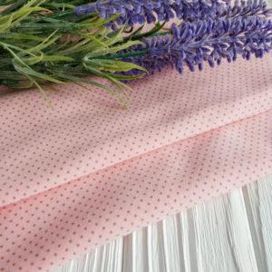 трикотаж интерлок мелкий горошек на розовом