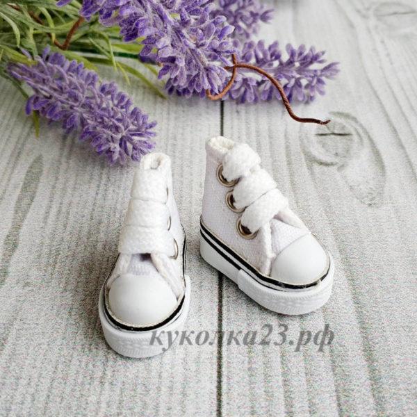 кеды на шнурках 3,5см белые
