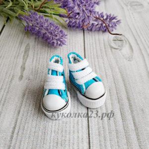 кеды на шнурках 3,5см голубые