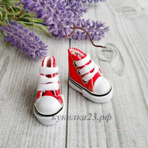 кеды на шнурках 3,5см красные