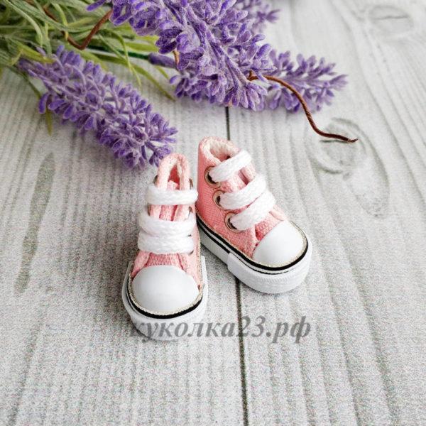 кеды на шнурках 3,5см розовые