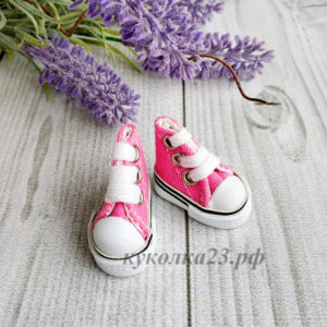 кеды на шнурках 3,5см ярко розовые