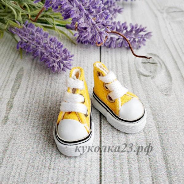 кеды на шнурках 3,5см желтые