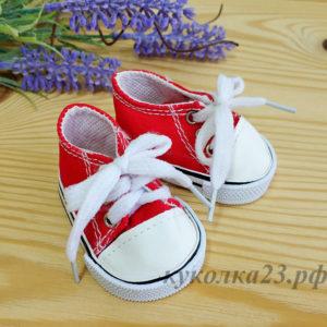 кеды на шнурках 7см красные