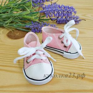 кеды на шнурках 7см розовые