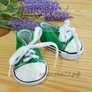 кеды на шнурках 7см зеленые