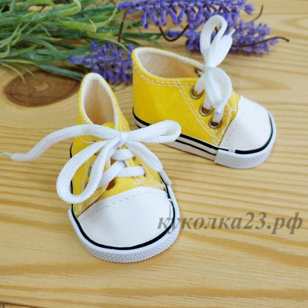 кеды на шнурках 7см желтые