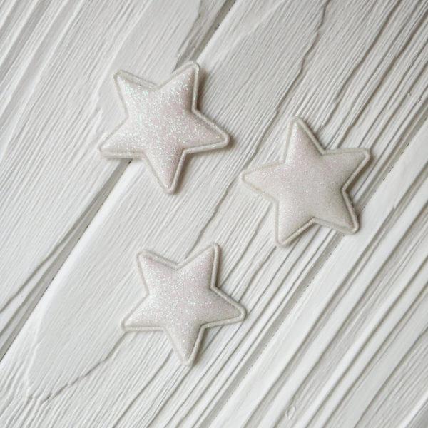патч звезда глиттер белый