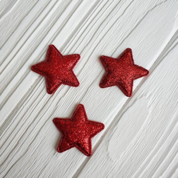 патч звезда глиттер красный