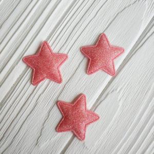 патч звезда глиттер светло-коралловый