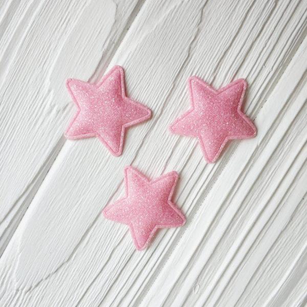 патч звезда глиттер светло-розовый