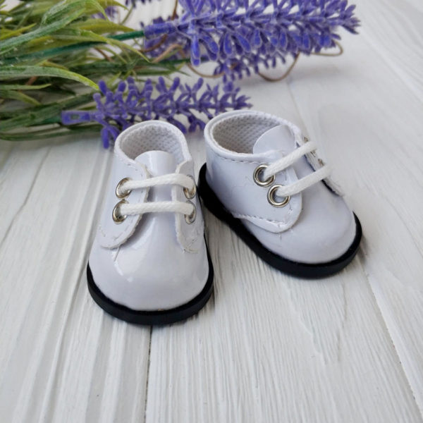 ботинки 5,5см лаковые белые