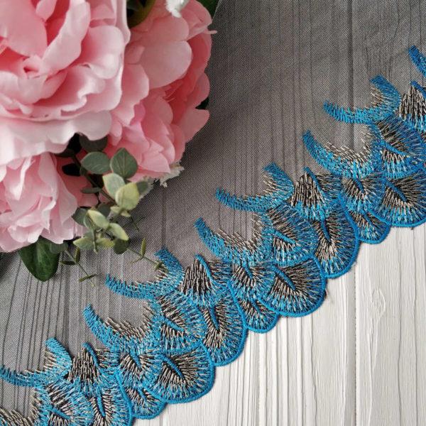 кружево перья черное с голубым