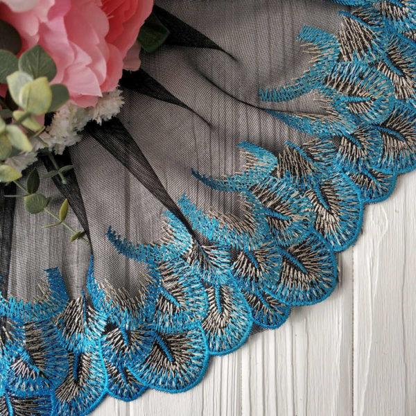 кружево перья черное с голубым2