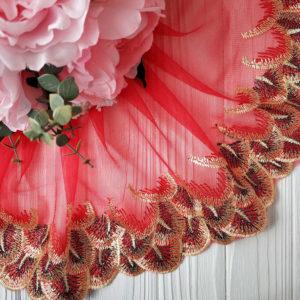 кружево перья красное с золотом2