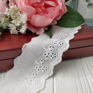 шитье на батисте 6,5см белый
