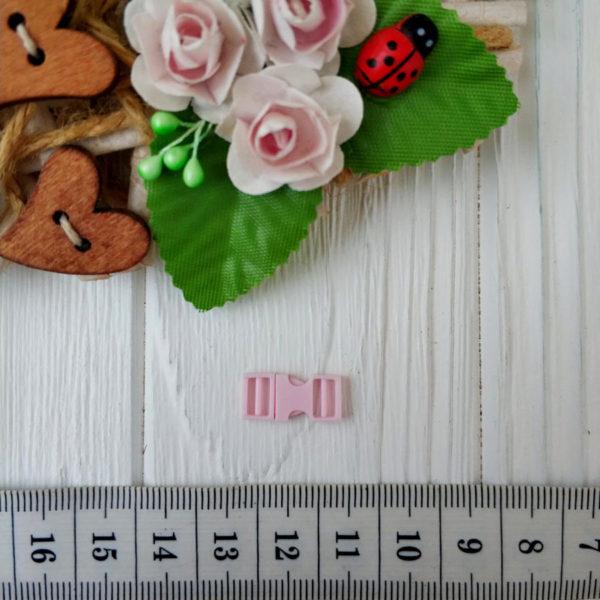 застежка пластик светло-розовый с линейкой