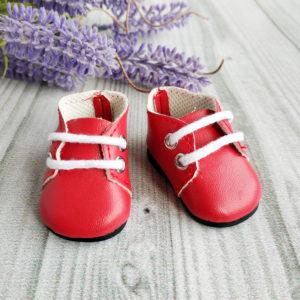 ботинки на шнурках 5см красные