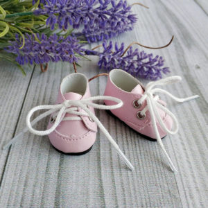 ботинки на шнурках 5см розовые