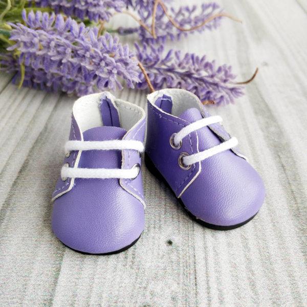 ботинки на шнурках 5см сиреневые