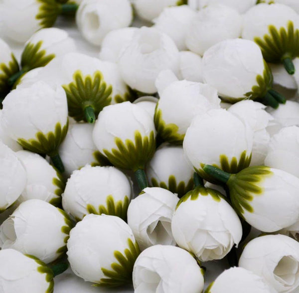 цветок тканевый бутон розы белый