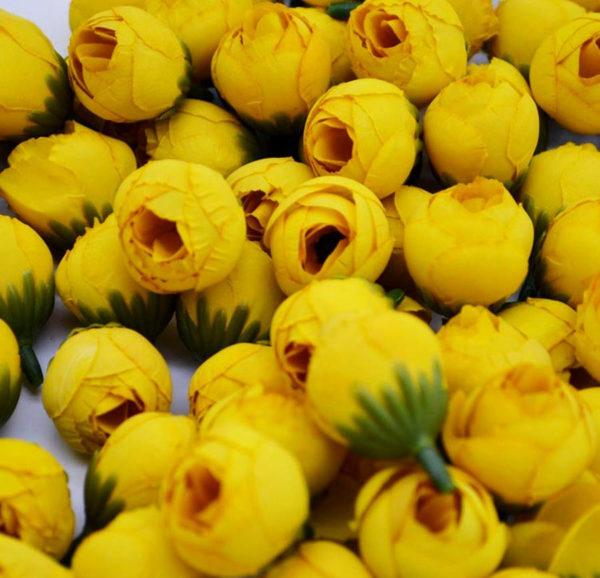 цветок тканевый бутон розы желтый