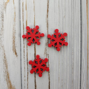 декор снежинка дерево красный