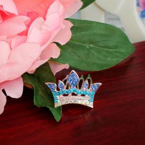 """диадема """"Корона"""" на гребне 2*3см голубая"""