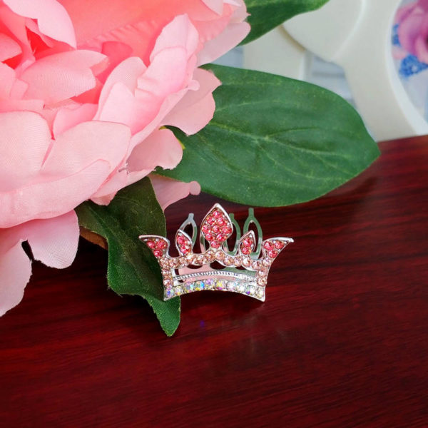 "диадема ""Корона"" на гребне 2*3см розовая"