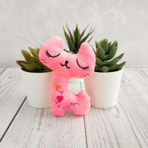 игрушка Кошка 10,5см ярко-розовый
