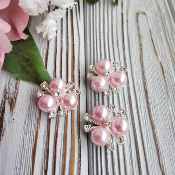 кабошон серебро/жемчуг светло-розовый