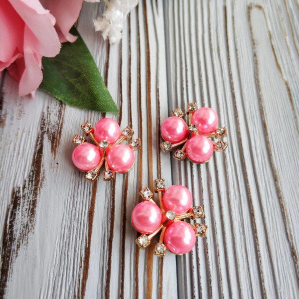 кабошон золото/жемчуг розовый