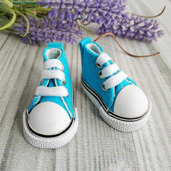 кеды на шнурках 5см голубые