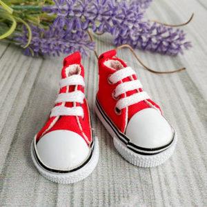 кеды на шнурках 5см красные