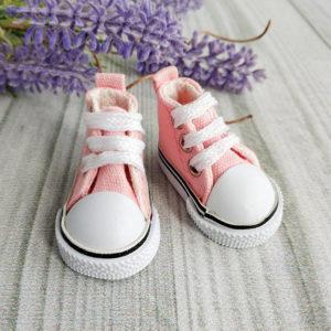 кеды на шнурках 5см розовые
