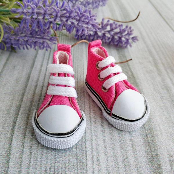 кеды на шнурках 5см ярко-розовые