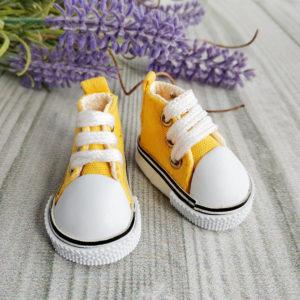 кеды на шнурках 5см желтые