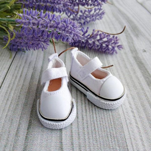 кеды-туфли на липучках 5см белые