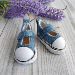 кеды-туфли на липучках 5см джинс