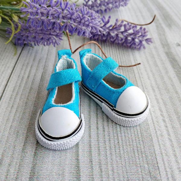 кеды-туфли на липучках 5см голубые